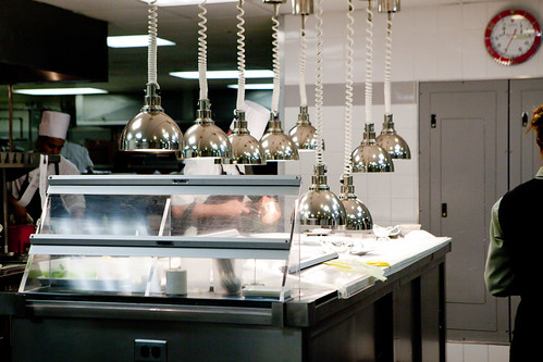 Inside the kitchen: Heat lamps, plating station