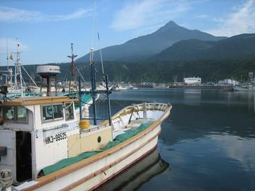 鴛泊港より利尻山を見る