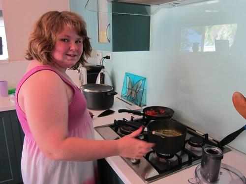 Amy making breakfast