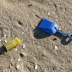 Pill shovel - pill jar and plastic shovel - plastic beach trash thumbnail
