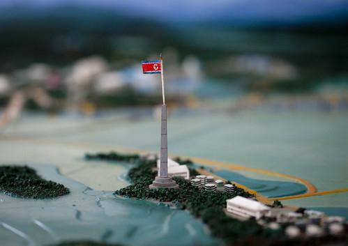 north korean flag and south korean flag. of the North Korean flag