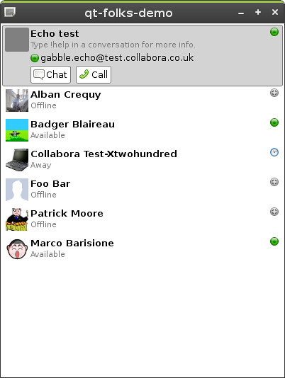 The demo showing some of my XMPP contacts