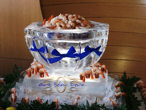 Ice bowl Blue Ribbons ice sculpture