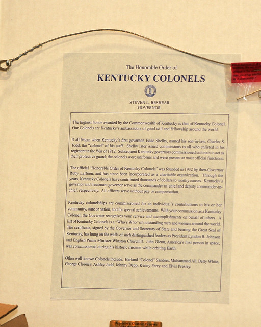 The Back of Senator Durbin's Kentucky Colonel Declaration