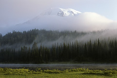 Mount Rainier shrouded in fog by Jim Corwin (Jim Corwin's PhotoStream) Tags: nature natural naturalworld mothernature beautyinnature beauty beautiful nobody outdoors countryside scenic landscape travel traveldestinations localattractions sightseeing tourism tourists vacation photography horizontal northamerica locallandmark majestic inspiring inspire inspiration peaceful pacificnorthwest mountain volcano wilderness adventure adventurous physicalgeography quiet serenity tranquil tranquilscene volcanic landforms washingtonstate cascaderange cascademountainrange explore exploring geology snowcapped nationallandmark getaways sunrise evergreentrees trees forest pond water lake glacier publiclands mountrainier mountrainiernationalpark reflectionlake fog foggy earlymorning mist misty evergreens mountrainiernationalforest