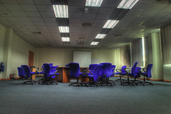 WHERE IS EVERYBODY (framptoP - E.V.I.L. Photographer) Tags: window table office chair empty room sony meeting sarawak malaysia presentation hdr samarahan kuching photomatix a350 iamflickr sonyalphagalleria