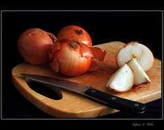 Its Easier To Laugh Than To Cry. (Picture post.) Tags: stilllife food kitchen tears knife onions preperation soe hdr choppingboard cookery photographyrocks mywinners flickraward flickraward5