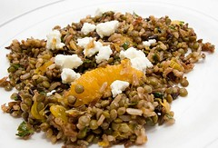 Wild Rice and Lentil Salad with Oranges, Dried Fruit, and Chevre