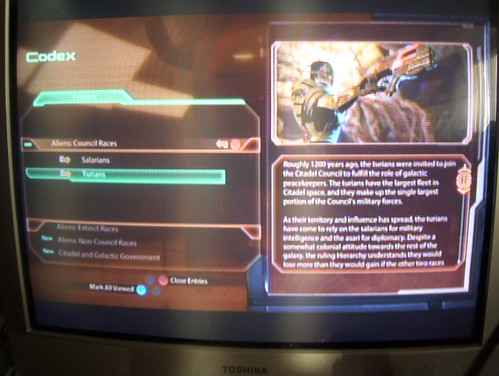 Mass Effect 2 Codex Screen