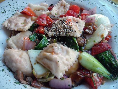 Salmon ravioli asian style