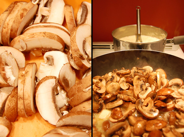 the makings of mushroom lasagna