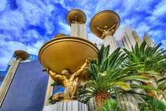 MGM Giants (Mister Joe) Tags: palms golden nikon cloudy lasvegas nevada statues grand joe nv atlas thestrip dynamicrange mgm sculptures hdr