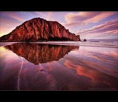 Morro Dawn II (TomGrubbe) Tags: ocean california seascape reflection beach clouds sunrise dawn morrobay morro morrorock