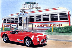 Clarksville Diner (Artwork_by_CrazyHorse) Tags: auto art illustration painting artwork automobile cobra diner automotive dessin crayon roadside ac 289 artsplastiques
