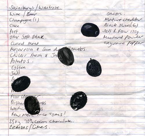 6 black olives