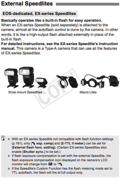 Camera settings and how to use Canon Speedlite flash units with the T3i, as documented on page 263 of the Canon T3i Manual