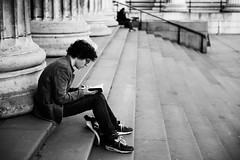 A Good Book (Chris JL) Tags: uk blackandwhite bw london stairs glasses book reader good candid profile columns streetphotography solo britishmuseum youngman spnp nikkor2470mmf28g nikond3s chrisjl