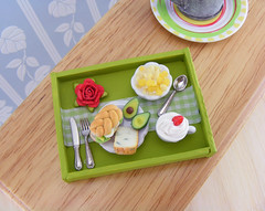Green Breakfast Tray - Sandwich and cereals (Shay Aaron) Tags: food flower coffee rose dessert avocado miniature sweet handmade cereal mini sandwich polymerclay fimo tiny greens tray romantic veggie 12th 112 cornflakes dollhouse petit breakfastinbed kellogs oneinchscale lunchplate shayaaron