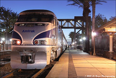 Twilight Time (El Roco Photography) Tags: california railroad sunset santafe station night train canon diesel rail trains 451 socal amtrak transportation locomotive orangecounty ge fullerton glint railroads pacificsurfliner passengertrain emd superliner atsf burlingtonnorthernsantafe fullertoncalifornia f59phi amtk alltrains amtrakcalifornia bnsfrailroad burlingtonnorthernsantaferailroad fullertontrainstation amtk451 elrocophotography