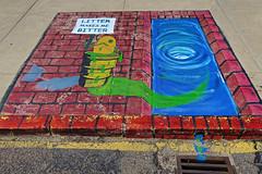 Litter, North Platte, NE (Robby Virus) Tags: northplatte nebraska ne litter bitter street art sidewalk paint painting cement concrete fish