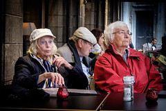 Lost in Thought Bruges. (James- Burke) Tags: humour street streetcolour bruges belgium candid seniors fun tourists fuji cafes streetcafe pensioners