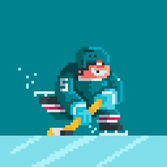 Day 194: Hit the Ice (ChrisKoelsch) Tags: hockey sport athlete illustrator illustration character videogame game sprite 8bit 16bit pixel bit
