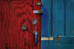 Break-ins welcome (hutchphotography2020) Tags: locks unlocked plywood corrosion handles hutchphotography