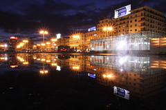 vapolization (maybemaq) Tags: city longexposure blue light urban italy reflection skyline night clouds dark square puddle twilight italia purple double symmetry blueprint napoli naples piazza reflexions stazione garibaldi centralstation waterreflection stazionecentrale piazzagaribaldi maybemaq the4elements vapolization
