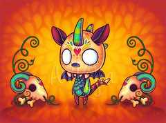 El Chupacabras (Anita Mejia) Tags: color art monster photoshop skulls mexico goat folklore creature legend publishing bookmark inks elchupacabras chogrin anitamejia choclatita