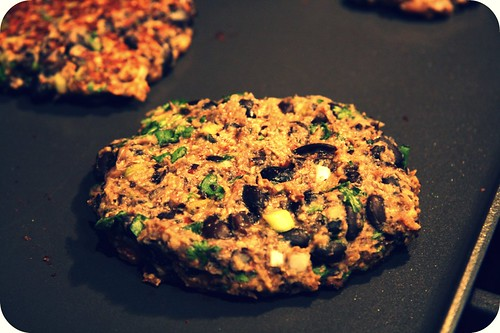 black bean burger close up
