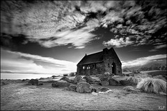 Church of the Good Shepherd (katepedley) Tags: new morning winter newzealand blackandwhite bw lake snow building church rock stone clouds canon interestingness frost tripod explore zealand mackenzie alpine southisland 5d 1740mm tekapo highcountry polariser gndfilter canterburynz outstandingshot