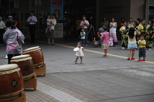 Little girl watching the Taiko performance
