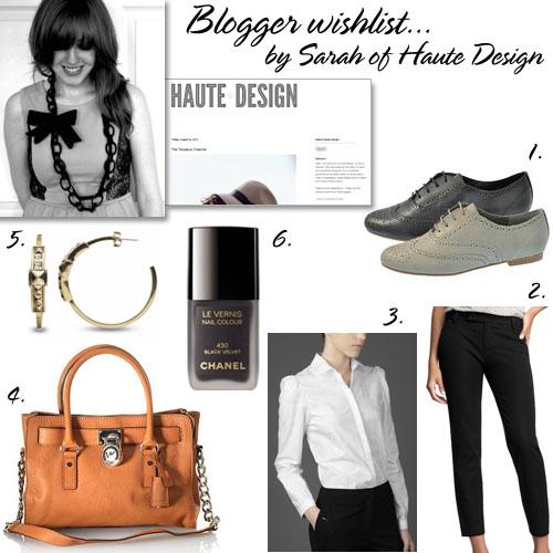 Haute Design's wishlist