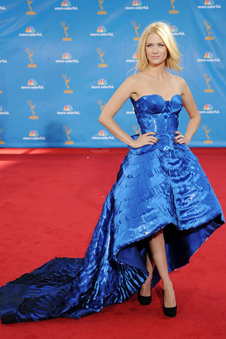 January Jones, in Atelier Versace, with Miu Miu shoes and Cartier jewels.
