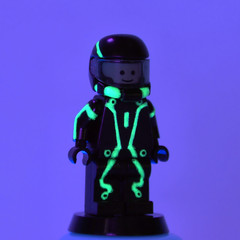 Tron Legacy WIP (Catsy [CC]) Tags: mod lego painted blacklight glowinthedark minifig custom tron modification legacy gitd catsy