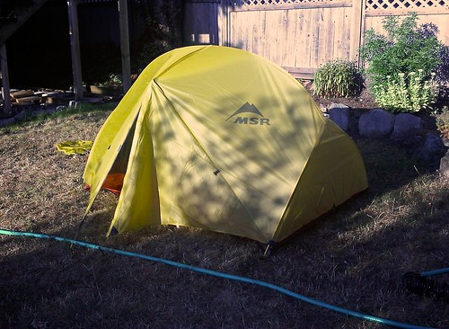 Testing the tent in the back yard