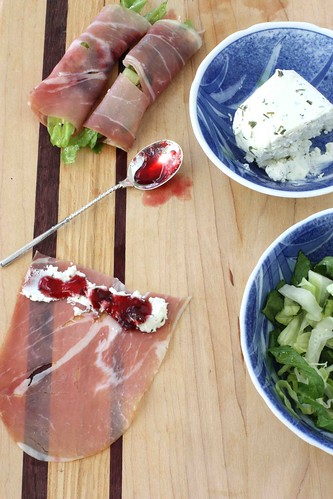 Prosciutto, Goat Cheese & Cherry Jam Rolls Recipe