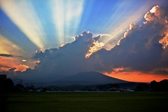 Rays of Light (jasohill) Tags: light sky mountains japan clouds japanese rice beam iwate backgrounds fields  rays   tohoku matsuo hachimantai  superaplus aplusphoto platinumheartaward fotocompetition fotocompetitionbronze