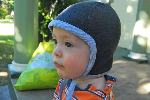 Eli's new Sweet Pea Pilot's Cap