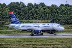 USAirways A319 Departing Charlotte (Carolinadoug) Tags: plane airplane nc charlotte aircraft jet northcarolina aeroplane airbus hdr topaz a319 photomatix d700 topazadjust usairwaysnikon