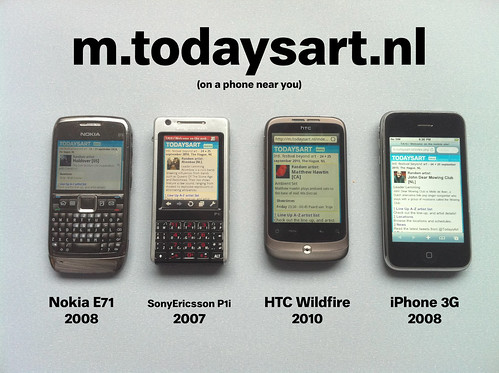 m.TodaysArt.nl mobile site on various phones