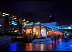 rain (Noisy Paradise) Tags: city longexposure light urban reflection coffee japan night tokyo shinjuku explore starbucks rainy   foveon