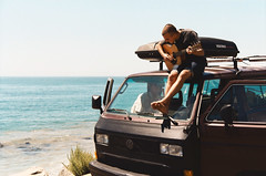 (Maddie Joyce) Tags: california camping sea summer music patagonia bus film beach vw 35mm canon eos maddie surf waves guitar trevor magic adler surfing malibu adventure gordon joyce surfers traveling ventura jammin campervan vanagon travers wwwthemagicbuscollectivecom