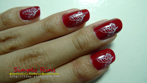 Nail Art Red Butterflies 04