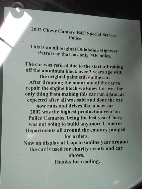 Former Oklahoma Highway Patrol 2002 Chevrolet Camaro B4C Special Service Police (SSP) by FormerWMDriver