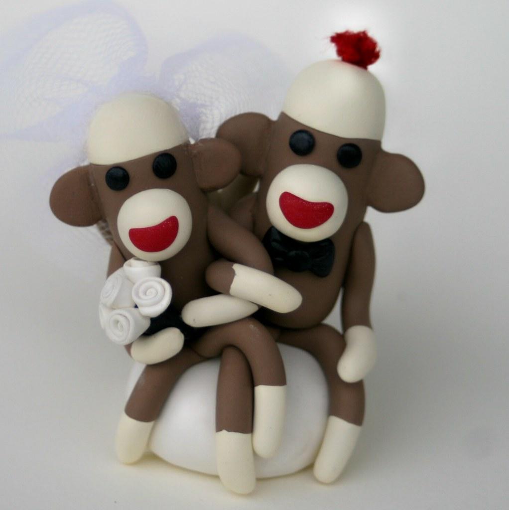 Sock Monkey Wedding Cake Topper Cupcake Size white