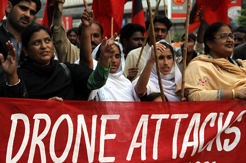 People in Pakistan protesting against United States military and intelligence drone attacks that have killed many civilians in the so-called war on terrorism. The attacks have escalated under the Obama administration. by Pan-African News Wire File Photos