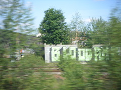 smallcam200610 044 (yorkshirepuddin) Tags: trees train graffiti view journey graff trainjourney sheffieldgraffiti bloodaxe june2010