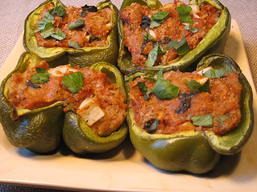 Stuffed Bell Peppers with Chicken Parmesan Filling 022