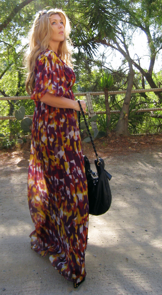 ADAM dress+long flowy inkblot dress+ferragamo bag-1